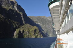 Milford Sound New Zealand from the baccony of a cruise ship Stock Images