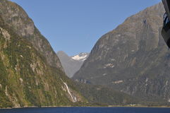 Milford Sound New Zealand from the baccony of a cruise ship Royalty Free Stock Image