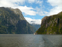 Milford Sound New Zealand. From on board a pleasure boat Royalty Free Stock Image