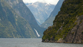 Milford Sound New Zealand. From on board a pleasure boat Royalty Free Stock Photo