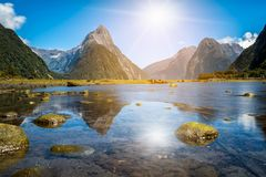 Milford Sound in New Zealand. Milford Sound, New Zealand. - Mitre Peak is the iconic landmark of Milford Sound in Fiordland National Park, South Island of New stock photography
