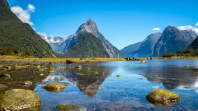 Milford Sound in New Zealand. Milford Sound, New Zealand. - Mitre Peak is the iconic landmark of Milford Sound in Fiordland National Park, South Island of New stock image