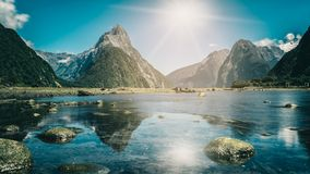 Milford Sound in New Zealand. Milford Sound, New Zealand. - Mitre Peak is the iconic landmark of Milford Sound in Fiordland National Park, South Island of New royalty free stock photos