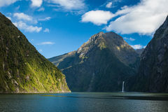 Milford Sound, New Zealand. Milford Sound, south island in New Zeland. Beautiful landscape with water, fjord and waterfalls Royalty Free Stock Images