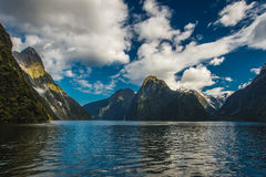 Milford Sound, New Zealand. Milford Sound, south island in New Zeland. Beautiful landscape with water, fjord and waterfalls Stock Image