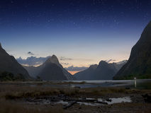 Milford sound at night with startrail Royalty Free Stock Photography
