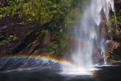 Milford sound and rainbow Royalty Free Stock Photography