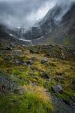 Milford Sound sonwy山,新西兰 免版税库存图片