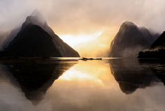 Milford Sound at sunset Stock Photo