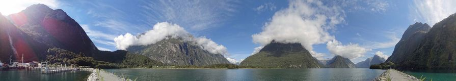 Milford Sound viewed from the Marina Breakwater royalty free stock image