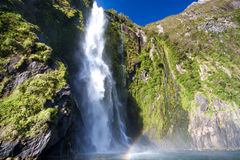 Milford sound waterfall Stock Images
