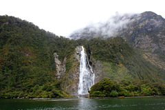 Milford Sound waterfall Royalty Free Stock Images