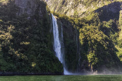 Milford sound waterfall Royalty Free Stock Photo