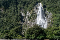 Milford sound waterfall Royalty Free Stock Photography