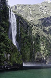 Milford Sound waterfalls.Beautiful New Zealand. Royalty Free Stock Image