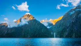 Milford Sound wild beauty, New Zealand. Milford Sound is the talisman, the icon of New Zealand`s South Island with its spectacular cliffs, rainforests and Stock Photo