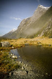 Milford Track. New Zealand. The second day on the trail, between Clinton Hut and Mintaro Hut treats hikers to astounding views of the valleys and peaks stock images