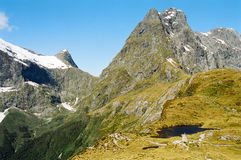 Milford track, New Zealand. Mackinnon Pass in the Milford track, New Zealand stock images