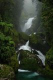 Milford Track waterfall. Waterfall on the Milford Track Stock Image