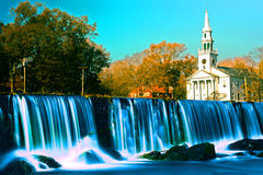Milford Waterfall and Church royalty free stock photo
