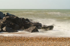 Milford Waves. Waves crashing at Milford on Sea, New Forest National Park Royalty Free Stock Photography