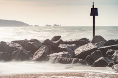 Milford Waves. Waves crashing at Milford on Sea, New Forest National Park Stock Photography