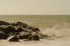 Milford Waves. Waves crashing at Milford on Sea, New Forest National Park Royalty Free Stock Image