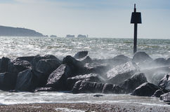Milford Waves. Waves crashing at Milford on Sea, New Forest National Park Royalty Free Stock Images