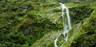 Milfordsound waterfall royalty free stock images