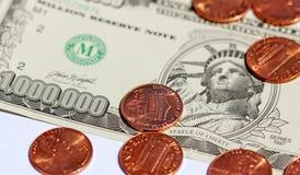 Milhão & moedas de um centavo Imagens de Stock Royalty Free