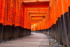 Milhares de torii no santuário de Fushimi Inari em Kyoto Imagens de Stock Royalty Free