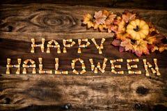 Milho de doces Dia das Bruxas feliz com decoração Foto de Stock Royalty Free