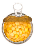 Milho doce dentro com tampa aberta Tin Can II Fotografia de Stock