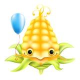 Milho engraçado com um balão azul Fotos de Stock Royalty Free