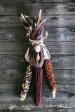 Milho indiano no fundo de madeira para Autumn Decor fotografia de stock royalty free