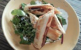 Milhojas de la carne con la ensalada Imagen de archivo libre de regalías