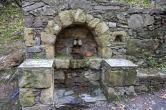 Fountain in historic village of Milia in Crete Greece royalty free stock photography