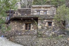Typical stone house in historic village of Milia in Crete Greece stock images