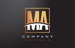 Miliampère M A Golden Letter Logo Design com quadrado e Swoosh do ouro Imagens de Stock Royalty Free