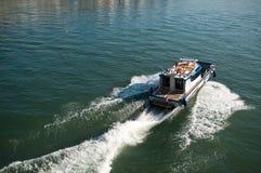 Milicyjna łódź na Rhine Basel w Switzerland Fotografia Stock