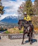 Milicyjna kobieta na horseback Zdjęcie Stock