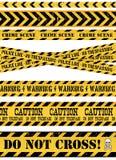 Milicyjna linia, miejsce przestępstwa I Ostrzegawcze taśmy, ilustracja wektor