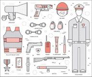 Milicyjna munduru i setu ochrona obsdza personelem wyposażenie w szafy biurze Na mieszkaniu w cienkim linia stylu projekta tle Zdjęcia Royalty Free