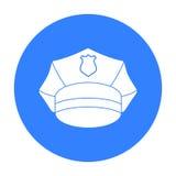 Milicyjna nakrętki ikona w czerń stylu odizolowywającym na białym tle Kapeluszu symbolu zapasu wektoru ilustracja Zdjęcia Royalty Free