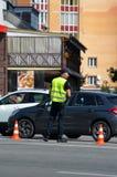 Milicyjna praca przy sceną wypadek uliczny Fotografia Stock