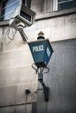 Milicyjna znaka i inwigilaci kamera Fotografia Stock