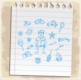 Milicyjne ikony ustawiać na papier notatce, wektorowa ilustracja ilustracji