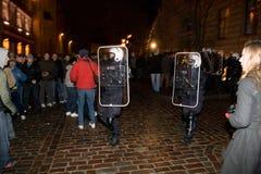milicyjne zamieszki Zdjęcia Royalty Free