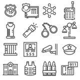 Milicyjnej linii ikony set Fotografia Stock