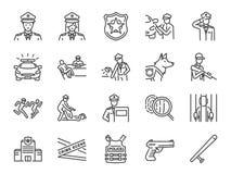 Milicyjnej linii ikony set Zawrzeć ikony gdy policjant, broń, podejrzany, areszt, sprawiedliwość i więcej, ilustracja wektor